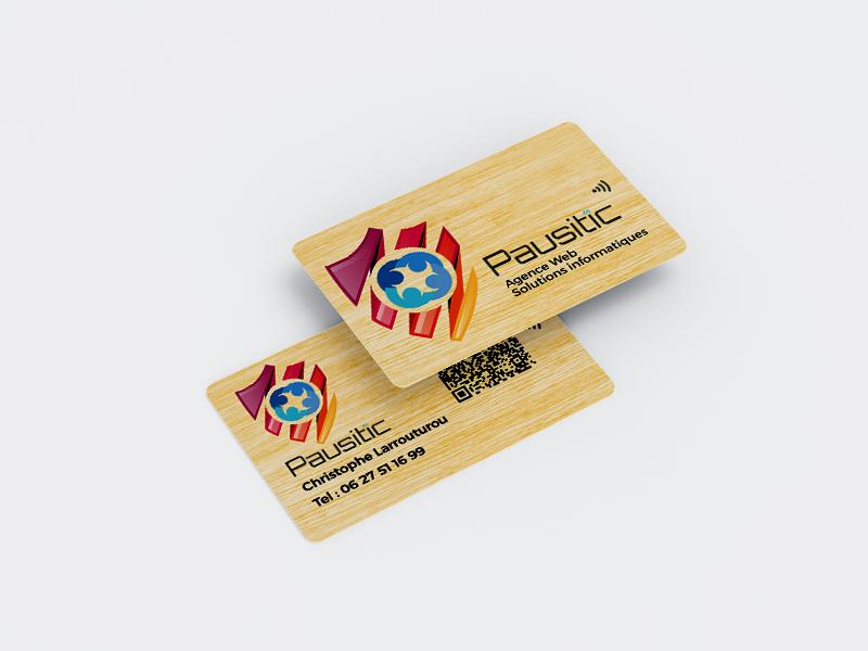 carte de visite nfc et qrcode en bois